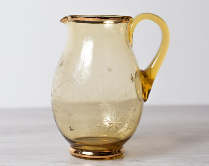 Vintage Amber Pitcher - Antique Yellow Colored Blown Glass Juice Cocktail Barware Jug with Gold Starburst Pattern -Mid Century Modern Design