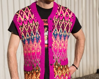 Knitted Geometric Vest / Vintage Medium Men's/Women's Knit Buttonup Sweater with Chevron Diamond Triangle Pattern in Fluorescent Pink Colors