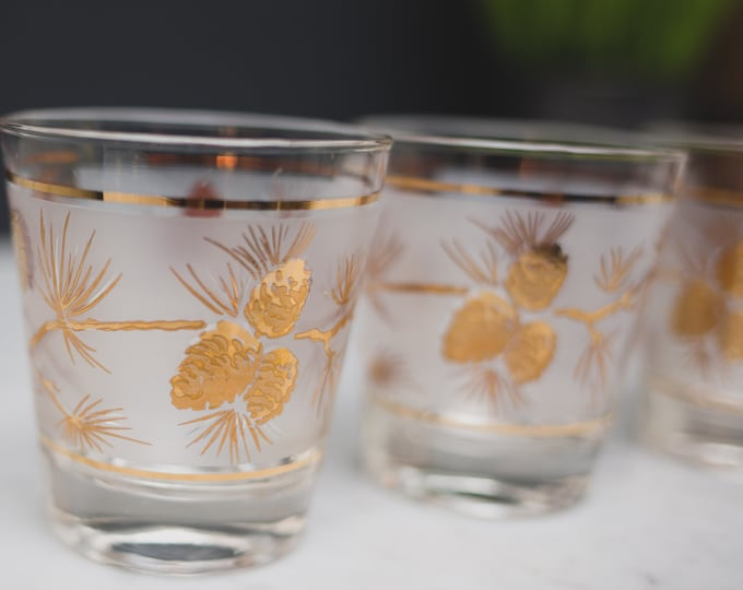 3 Gold Branch and Acorn Lowball Tumblers - 6oz Fine Blow Cocktail Glasses -  Frosted Glasses with Gold Bands -Hollywood Regency Bohemian
