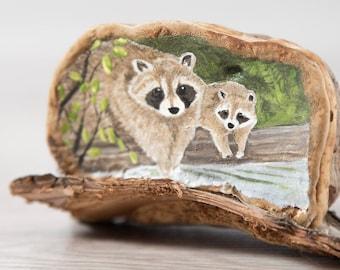Raccoon Painting on Tree Fungi / Original Artwork