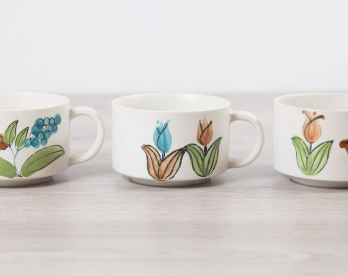 3 Vintage Soup Bowls with Tulip Flower Pattern- Blue, Orange and Green on White Ceramic Dinnerware / French Onion