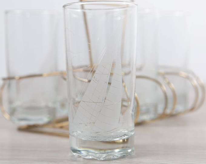 Nautical Ship Glasses / Set of 6 Vintage Etched Sailboat Beer or Cocktail Glasses / Ocean Sailing / Gift for Dad