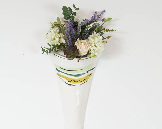 Vintage Ceramic Wall Vase / White Ceramic Fluted Flower Vase with Green and Yellow Stripe Pattern