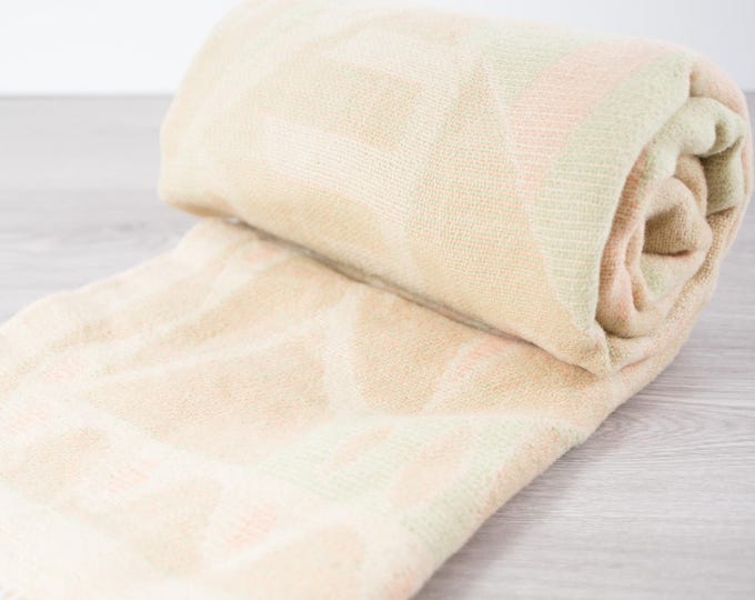 Vintage Wool Blanket / Soft Pastel Colored Throw / Cottage Couch or Bed Blanket / Creamy Canadian Wool Blend Bed Cover