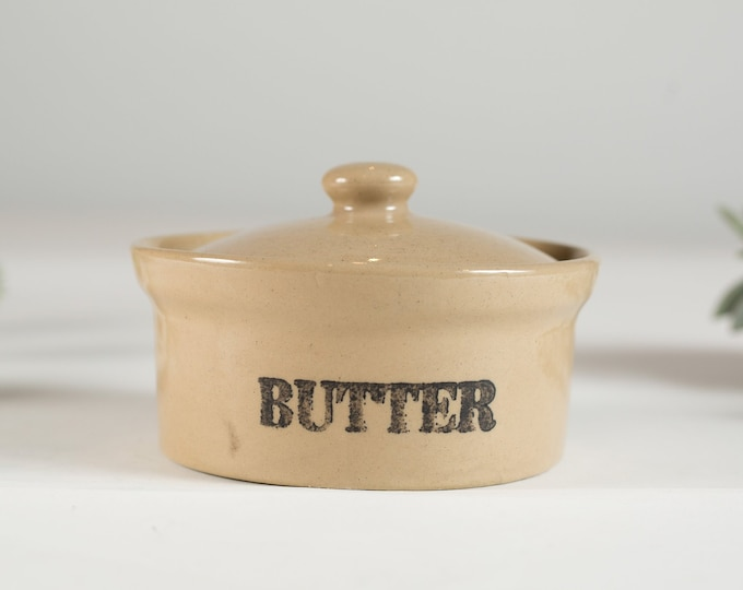vintage Butter Dish with Retro Lettering - Stoneware Lidded Round Rustic Kitchen Handmade Pottery Jar - decorative Retro Advertising