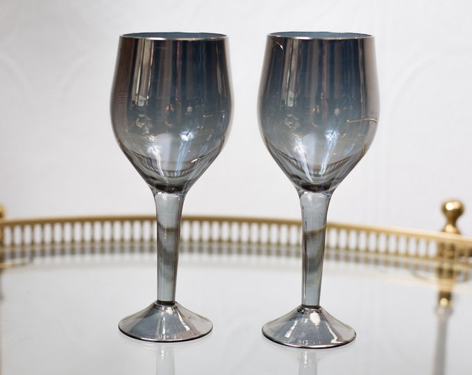 Pair Wine Glasses - Grey Mirrored Smokey Stemware - Retro Metallic Barware / Glassware