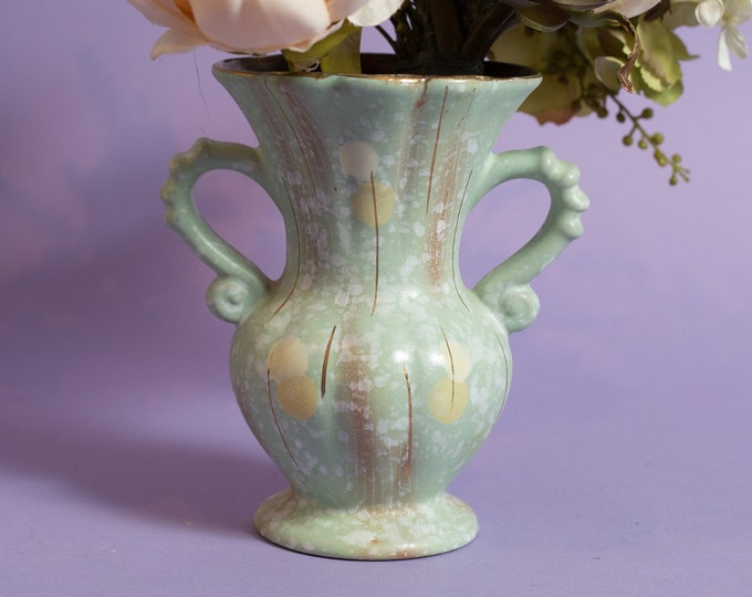 Vintage Green Vase - Mint Green Fluted Ceramic Flower Jug with Gold Stripes - Mother's Day Gift