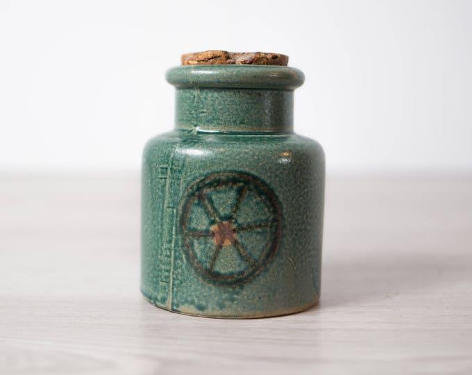 Vintage Ceramic Jar / Green Earth-tone Antique Ceramic Canister with Wheel Pattern and Original Cork / Retro Honey Pot