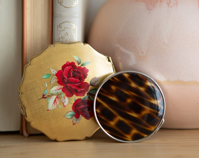Vintage Compact Mirrors  - 1980's Pocket Mirrors - Golden Girls Decor - Made in England by Stratton Hand Mirror