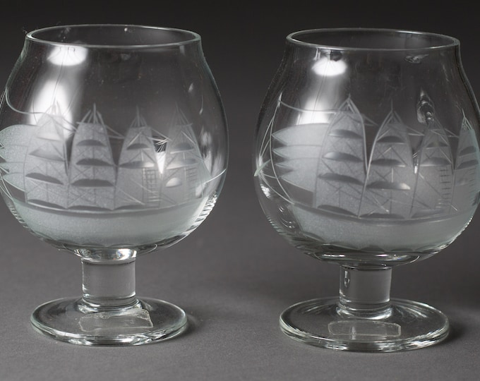 2 Vintage Brandy Glasses - 5oz Etched Sailing Ship Glasses - Retro Cocktail Bluenose Glasses with Etched Nautical Boats