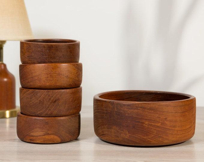 Teak Salad Bowl Set - Vintage Solid Exotic Wood Food Safe Serving Appetizer Dish Platter - Hand Carved Hardwood - Danish Modern Nordic