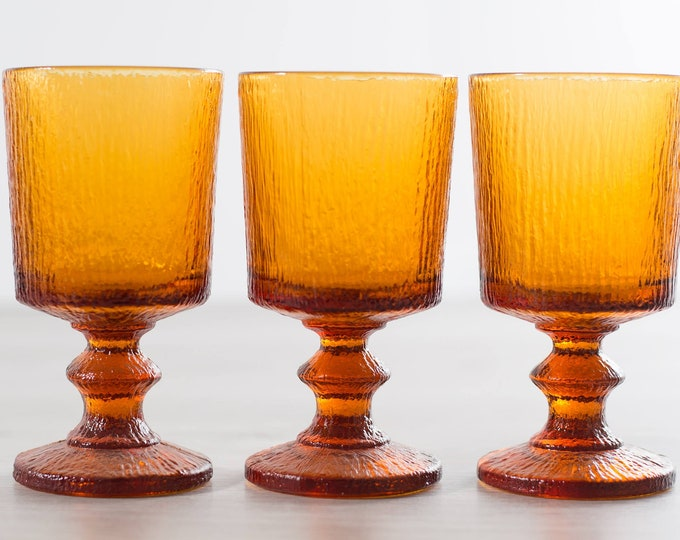 8 Vintage Amber Goblets - Textured Wine Glasses - Orange Cocktail Barware Icicle Ice Swedish Scandinavian Stemware