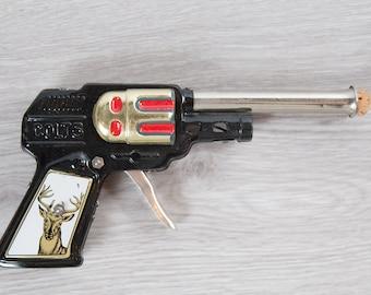 Vintage Toy Gun - Colt 5 Pop Sparking Gun with Cork Stopper - Made in Japan - Tin Metal Western Cowboy Hunting Handgun with Deer Motif