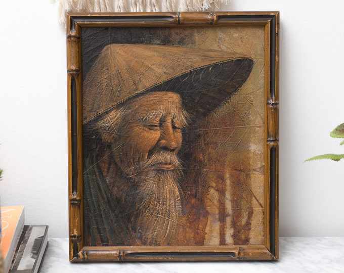 Vintage Framed photo of Chinese Man with Straw Hat - Asian Bearded Old Wise Man LEAF ART Painting