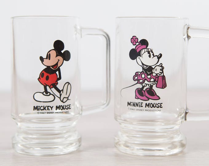 Mickey and Minnie Mouse Mugs / Vintage Disney Collectible Beer Mugs