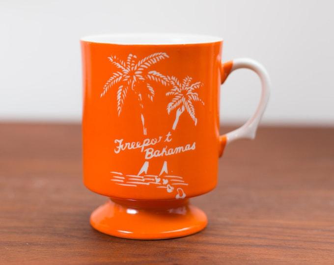 Vintage Orange Freeport Bahamas Mug -Collectible Ceramic Coffee or Tea Mug