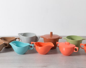 9 Vintage Melamine Creamers and Sugar Canisters - Coral, Baby Blue, Brown, Grey and Green Melmac