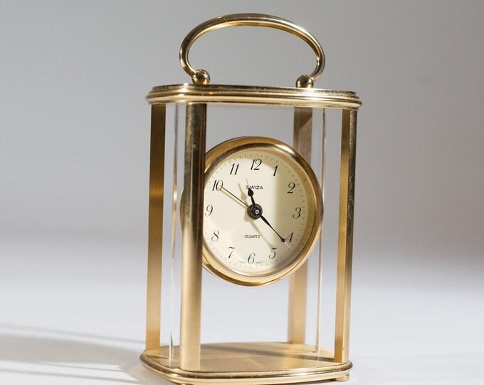 Vintage Swiza Quartz Clock - Art Deco Working Brass Wind up Clock with Glass Front - Made in Switzerland