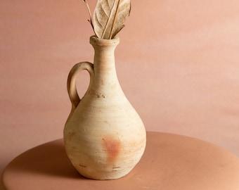 Vintage Terracotta Vase - Sculpted Signed Southwest Studio Pottery Art Vase for Flowers Floral Arrangement - Boho Style Vase