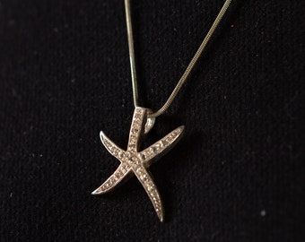 Silver Starfish Necklace - Modern Boho Beach Coastal Tropical Seashell Jewelry