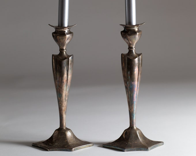 Silver Plated Candlestick Holders - Edwardian Style Metal Candlestick Holder - Footed Medieval Tudor Game of Thrones Home Decor