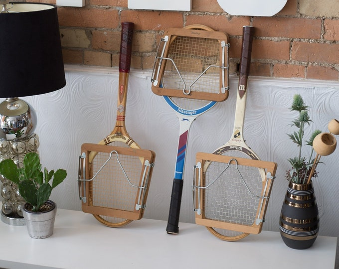 Vintage Wood Tennis Racquets - Set of 3 Wooden Rackets with Wood Protectors - Retro Sports Decor - Boys Room - Cooper Tournament Racket