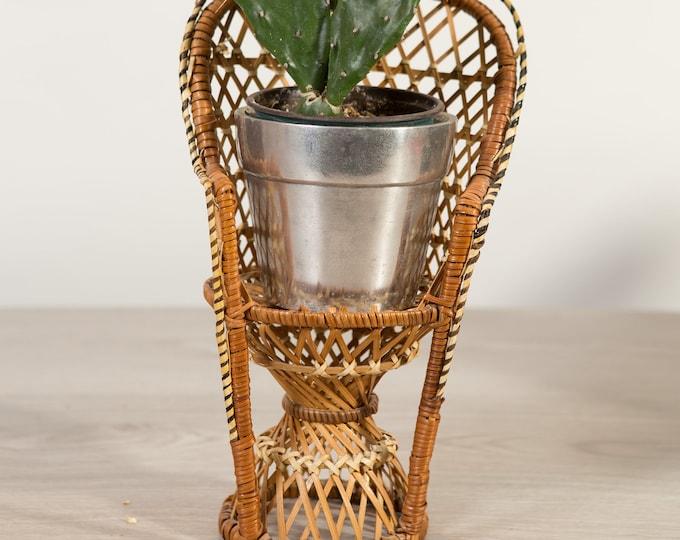 Woven Wicker Chair - Vintage Miniature Rattan Plant Pot Holder - Hand Woven Rustic Boho Modern Decor - Mid Century Modern  Minimalist