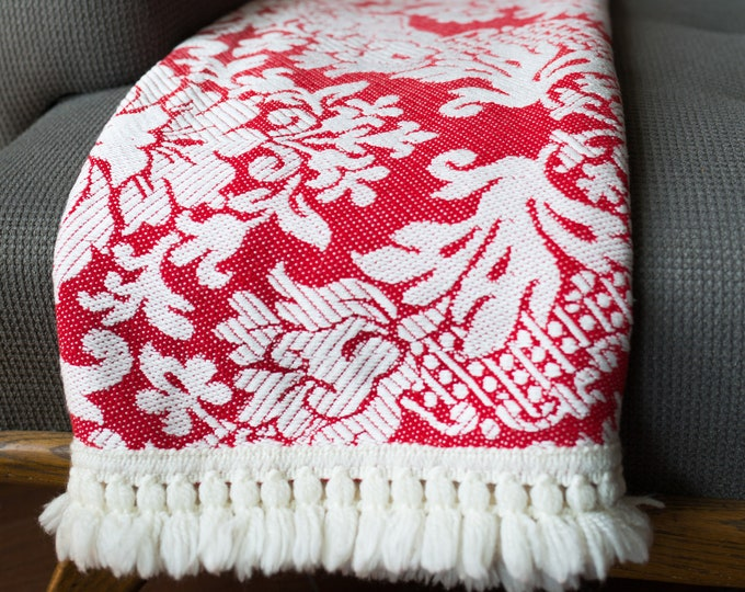Vintage Bed Cover - Ornate Damask Red and White Throw Blanket with White Fringe -  Floral Bed Duvet Cover- Cottage Couch
