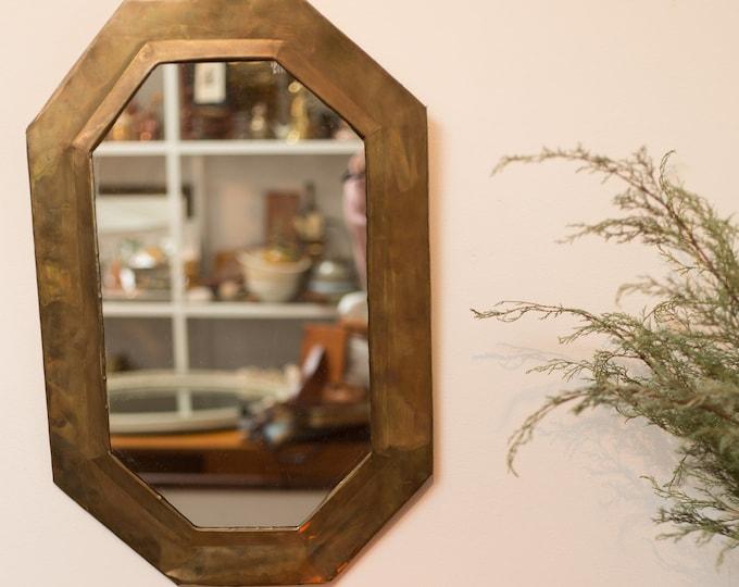 Vintage Octagon Mirror - Brass Hanging Wall Mirror or Bathroom Mirror - Geometric Rustic Boho Modern Minimalist Bedroom Decor