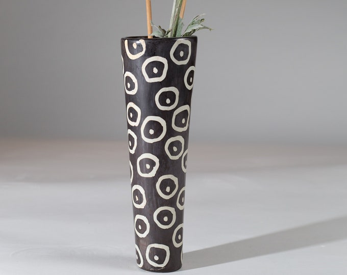 African Soapstone vase - Genuine Kenyan Besmo Hand Carved Stone Vase with Circular Geometric Dotted Polka Dot Pattern - Tribal Art Decor