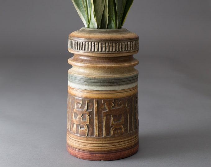 Vintage BH Israel Vase - Brown Textured Boho Ceramic Vase - Middle Eastern Israeli Pottery