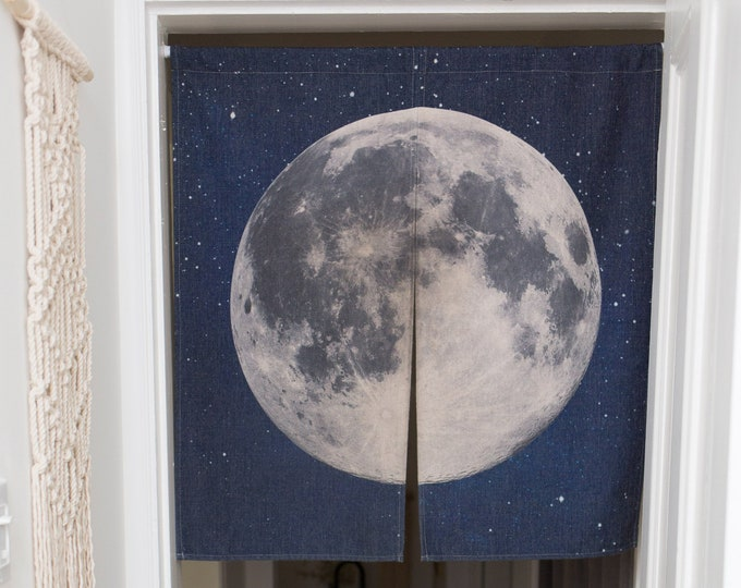 Japanese Moon Noren - Space Theme Door Curtain - Planet Fiji Galactic Kids Room Decor - Living Room Bedroom Divided Curtain