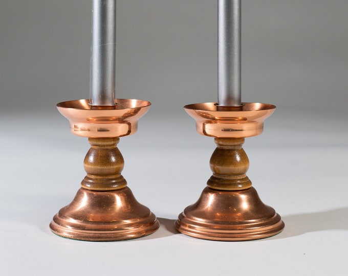 Pair of Vintage Copper Candlestick Holders - Christmas Party Table Centrepiece Hollywood Regency Decor