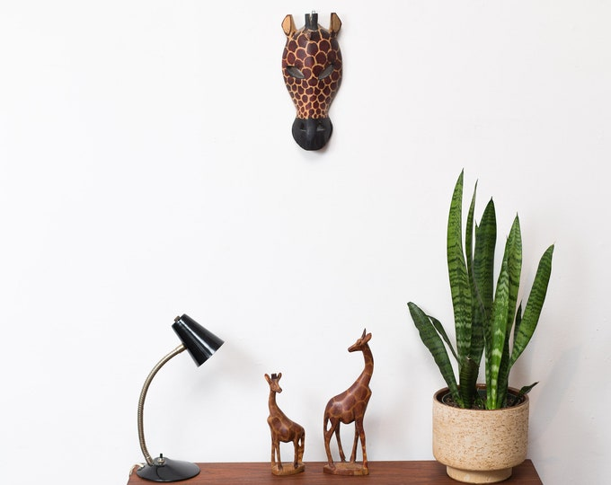 African Wood Carvings - 2 Giraffe and 1 Mask - Hand Carved and Painted Solid Exotic Wood Decorative Geometric Giraffe Ornaments - Safari Art