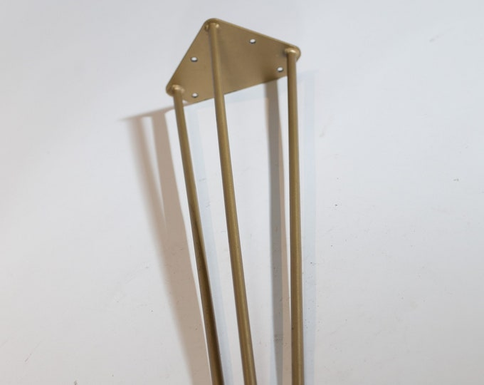 "Gold Hairpin Legs / 28"" Brass Coloured Heavy Duty 3 Rod Steel Hairpin Legs"
