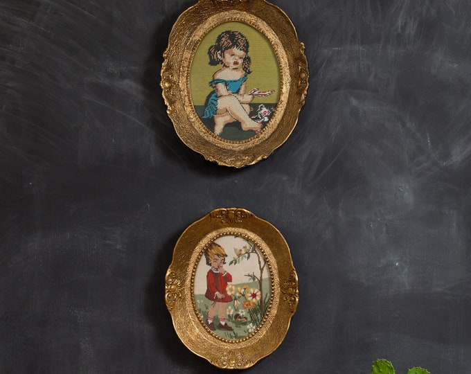Vintage Latch Hook Artwork - Pair of Gold Colored Oval Framed Embroidered Cross Stitch Needlepoint Fabric Art Tapestry of Boy and Girl