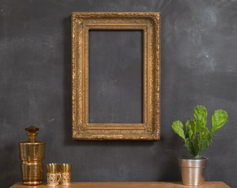 Antique Gold Frame - Bronze Coloured Rustic Ornate Rectangle Wood Frame for Prints, Artwork, Painting Pictures, Mirror