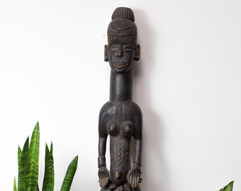 Antique Fertility Statue - Large African Hardwood Hand-carved Dark Wood Boho Standing Man or Woman Ceremonial Indigenous Art