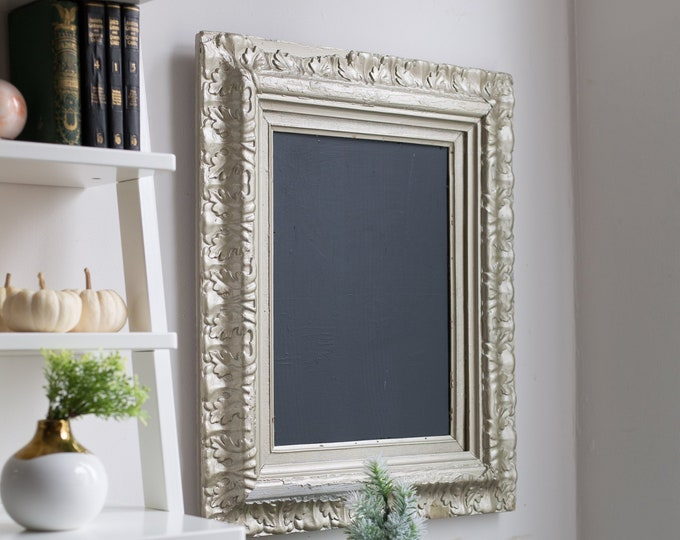 Vintage Framed Chalkboard in Metallic Champagne Colour - Silver Large Ornate Detailed Christmas Frame - Baroque Style