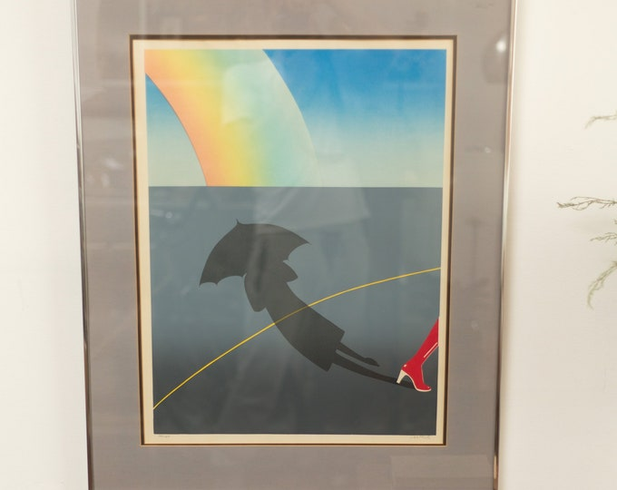 Vintage Limited Print of Red Heel Walking Street with Rainbow and Umbrella Shadow - Dorothy Vibes -Toronto, Canada Artwork