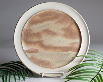 Vintage Wall Plate - Sand Dunes or Mountains Inspired Brown Boho Desert Abstract Clay Plate Hanging - Handmade Studio Art Pottery