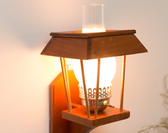 Farmhouse Wood Lamp - Wall Hanging Light with Glass Chimney - Retro Arts and Crafts Oil Lamp Style Light