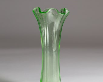Green Glass Vase  - Vaseline Uranium Glass Antique Depression Glass Decor - Ruffled Fluted Pleated Top Vintage 1930s Flower Vase