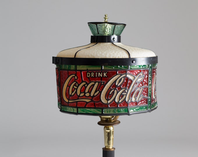 Vintage Coca-Cola Lamp - Red, Green and Gold Coloured Plastic Coke Lamp - Diner Style Bedside Table Light - Collectible Decor