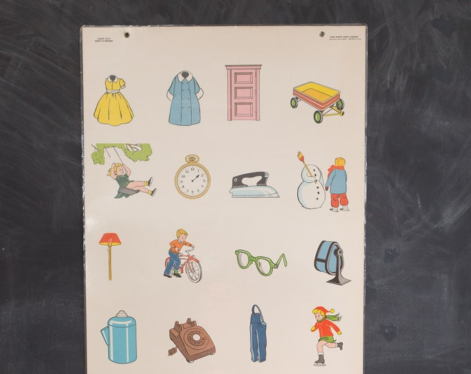 Vintage Ideal School Supply Company learning Chart - 1950's What is Missing Chart 270 D - Retro Elementary School Decor
