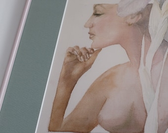 Nude Female Watercolour Painting Signed Yuriko, March 82' - Toronto, Canada Artwork Of Woman's Breast and Profile