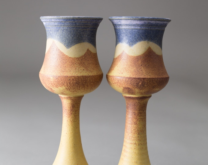 Ceramic Wine Goblets - Pair of 6oz Handmade Beachscape Nautiful Earthy Vintage Boho Studio Pottery Art Wine Glasses