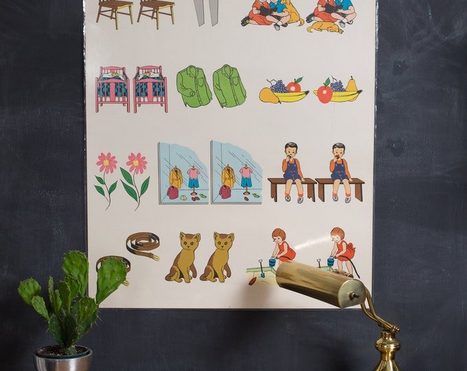 Vintage Ideal School Supply Company learning Chart - 1950's Picture Alike - Different Chart - Retro Elementary School Decor