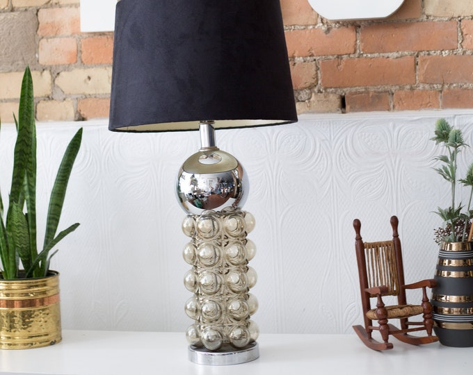 Vintage Glass Lamp - Designer Chrome and Smokey Bubble Glass Light - Hollywood Regency Mid Century Modern Art Deco Bedside Table Light