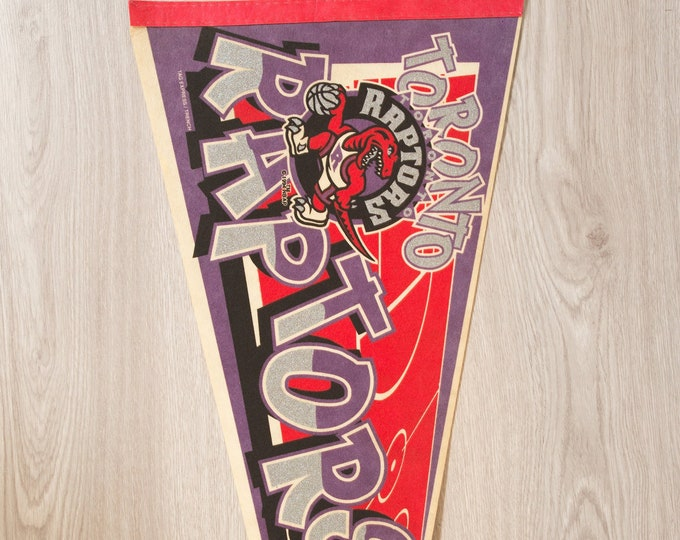 Toronto Raptors Pennant - Vintage Basketball Felt Souvenir Hanging Triangle Shaped Sports Theme Wall Decor - Boys Room Wall Hanging